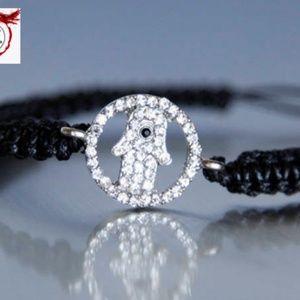 Hamsa Hand Macrame Bracelet, Rhinestones, Handmade